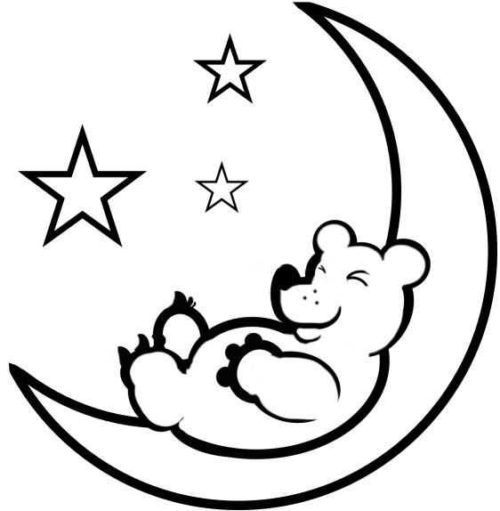 Coloriage et dessins gratuits Ours sur Le Croissant de Lune à imprimer