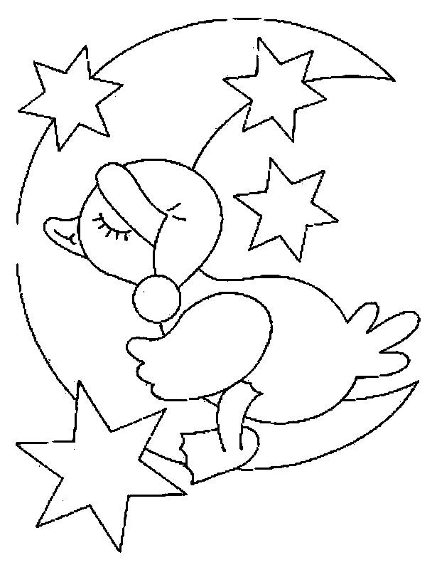 Coloriage et dessins gratuits Petit Canard dort sur La Lune à imprimer