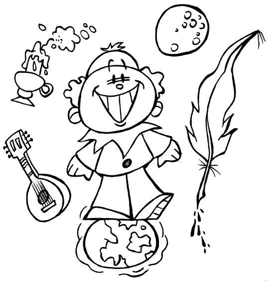 Coloriage et dessins gratuits Petit Enfant Lune et Terre à imprimer