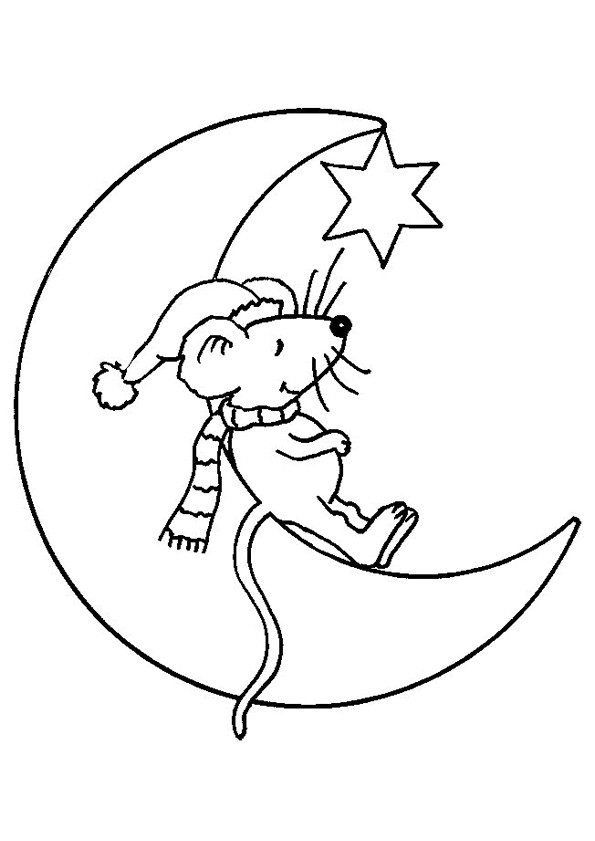 Coloriage et dessins gratuits Souris sur La Lune à imprimer
