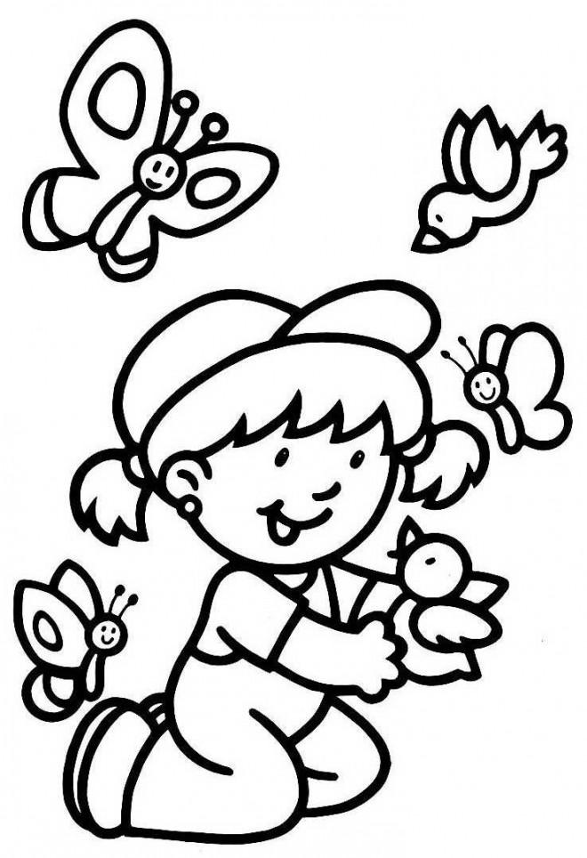 Coloriage et dessins gratuits La Petite Fille et les Papillons à imprimer