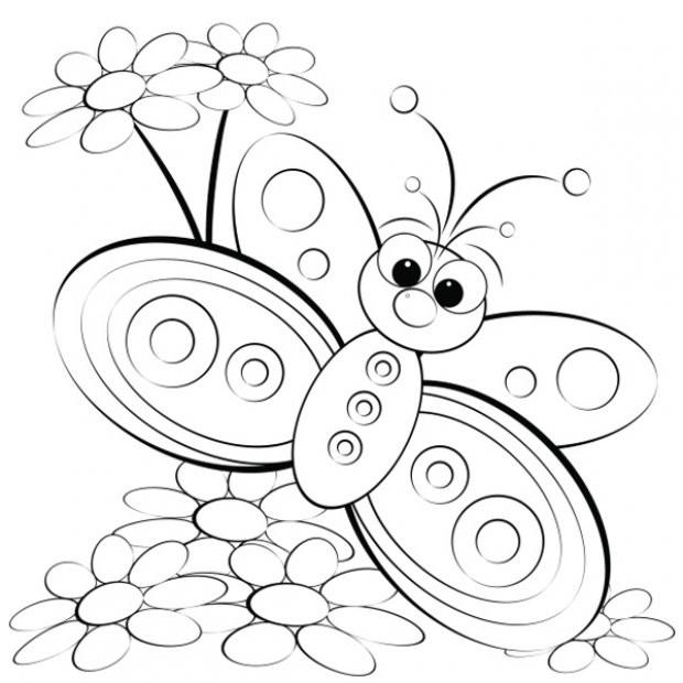 Coloriage et dessins gratuits Magnifique Papillon dessin animé à imprimer
