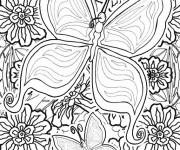 Coloriage et dessins gratuit Magnifique Papillon et Les Fleurs à imprimer