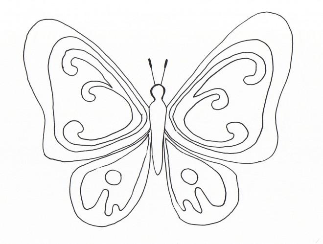 Coloriage et dessins gratuits Magnifique Papillon stylisé en noir à imprimer
