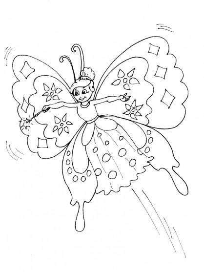 Coloriage et dessins gratuits Papillon Ange à imprimer