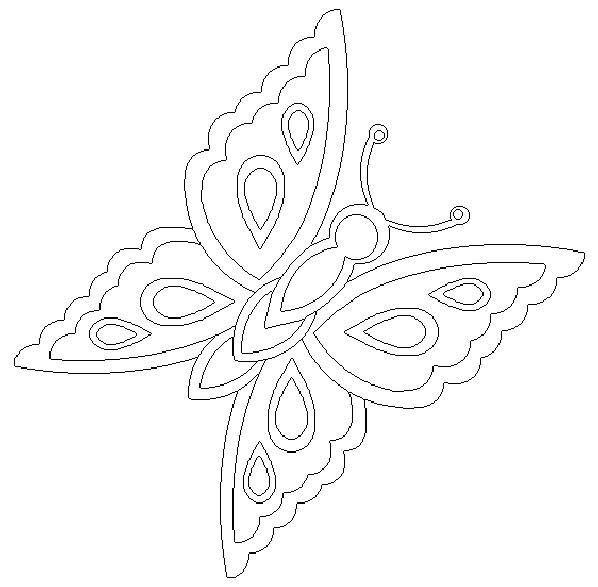 Coloriage et dessins gratuits Papillon avec ses ailes décorés à imprimer