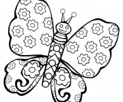 Coloriage et dessins gratuit Papillon décoré en fleurs à imprimer
