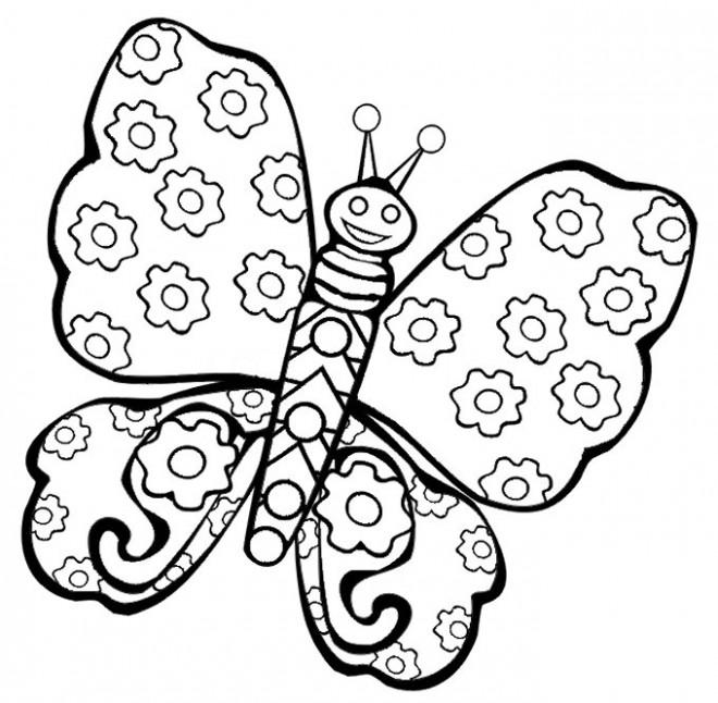Coloriage Papillon décoré en fleurs