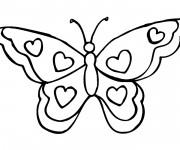 Coloriage Papillon en coeurs
