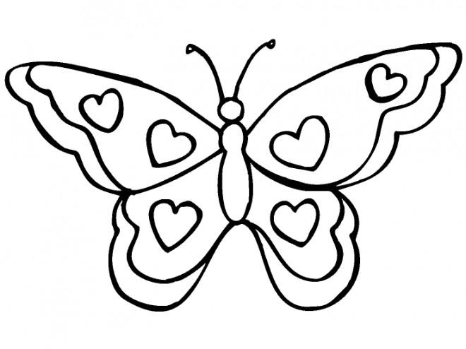 Coloriage Papillon En Coeurs Dessin Gratuit A Imprimer