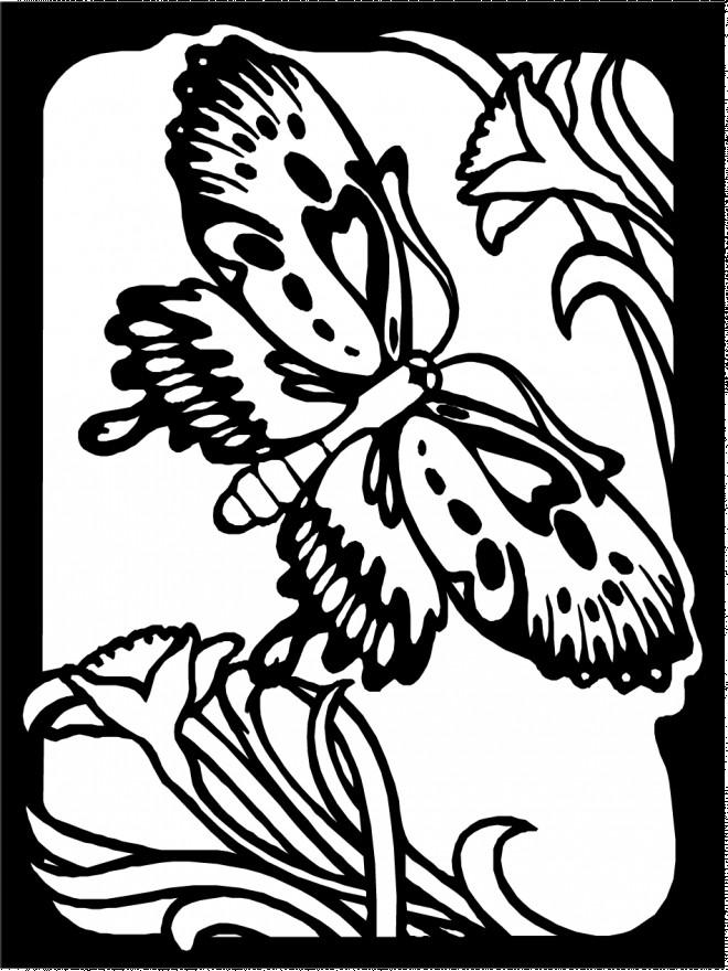 Coloriage et dessins gratuits Papillon en vol dans le Jardin à imprimer