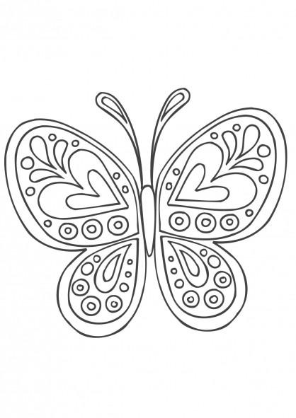 Coloriage et dessins gratuits Papillon formidable en coeur à imprimer