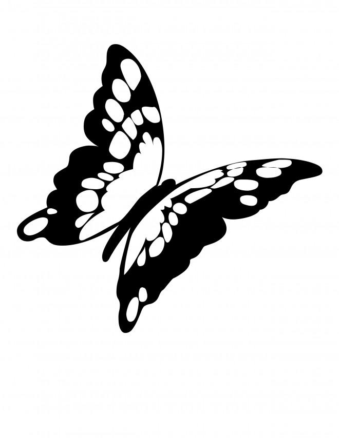 Coloriage et dessins gratuits Papillon magnifique en noir à imprimer