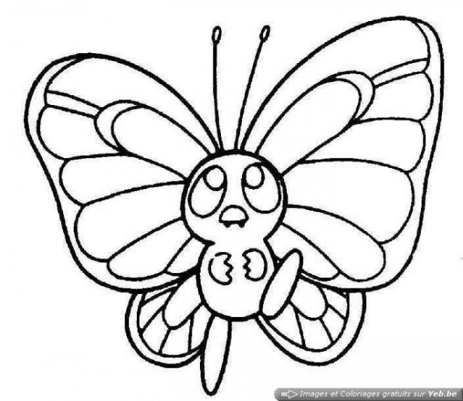 Coloriage et dessins gratuits Petit Papillon mignon à imprimer
