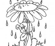 Coloriage Marguerite comme parapluie