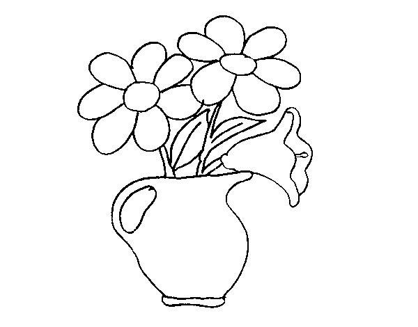 Coloriage et dessins gratuits Marguerites dans la vase à imprimer