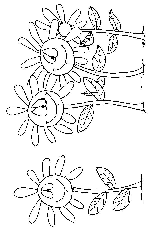 Coloriage et dessins gratuits Marguerites en bon humeur à imprimer