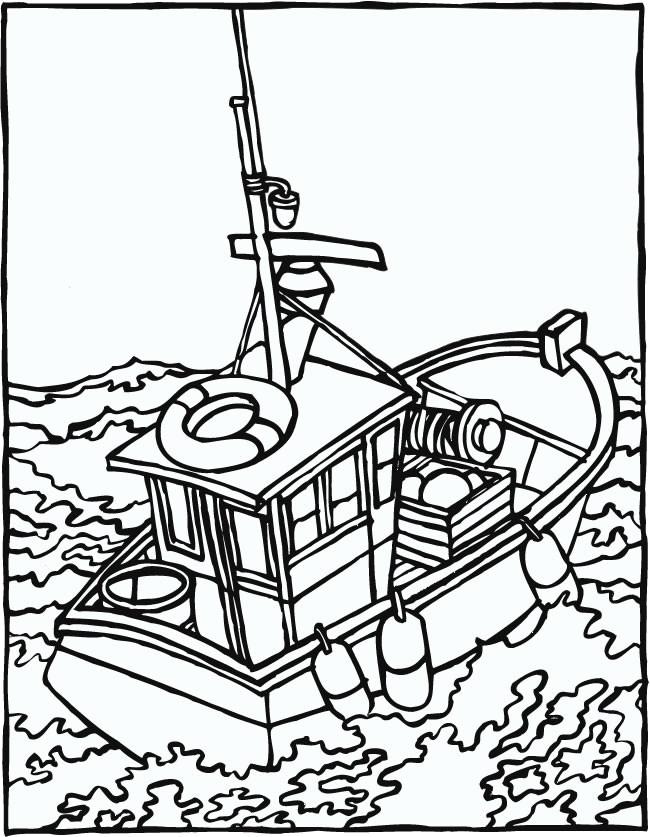 Coloriage Bateau De Pêche Dans La Mer Dessin Gratuit à Imprimer