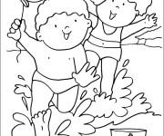 Coloriage et dessins gratuit Des enfants dans la Mer à imprimer