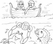 Coloriage Enfant jouent au ballon avec les poissons