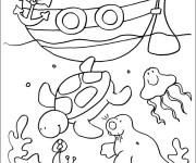 Coloriage et dessins gratuit Fond de Mer et Bateau à imprimer