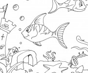 Coloriage Fond Marin et poissons