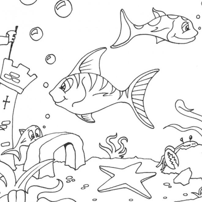 Coloriage et dessins gratuits Fond Marin et poissons à imprimer