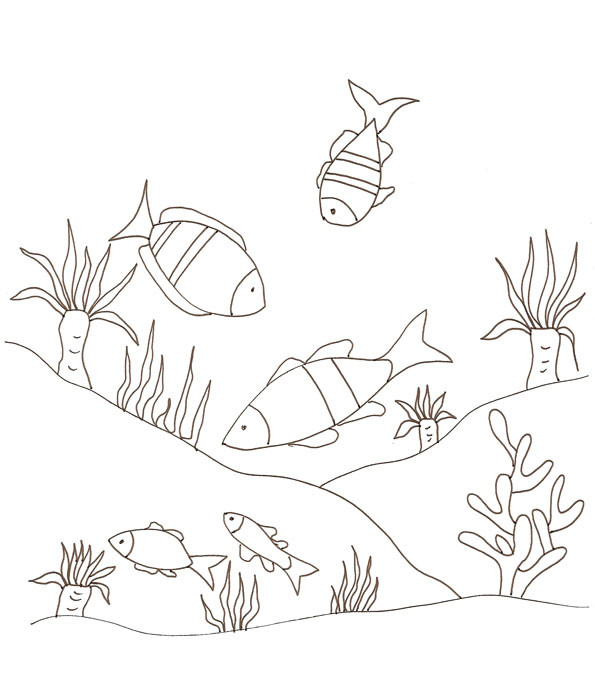 Coloriage et dessins gratuits Fond Marin plein de poissons à imprimer