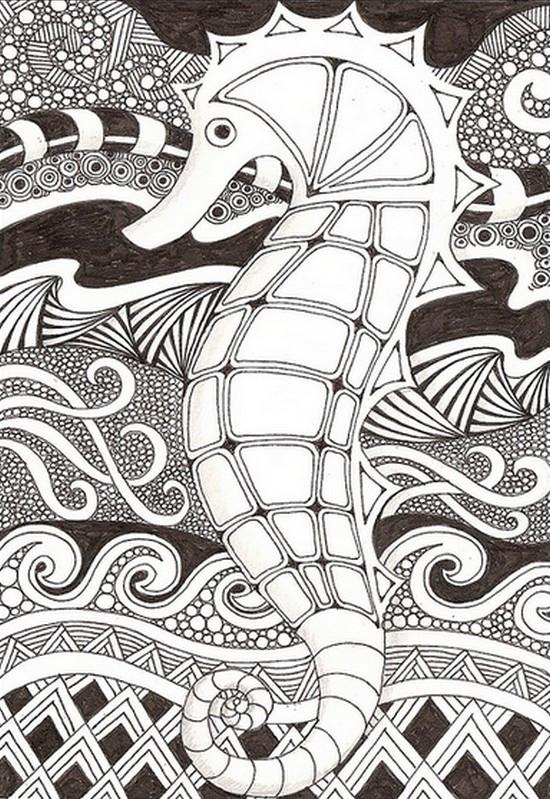 Coloriage et dessins gratuits Hippocampe mandala en noir à imprimer