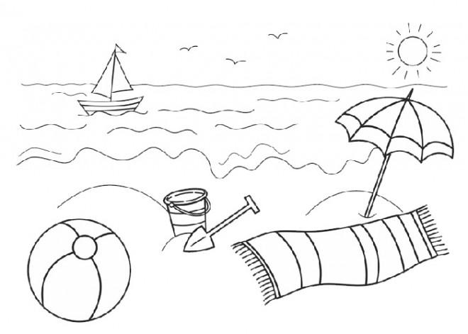Coloriage et dessins gratuits La plage à découper à imprimer