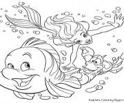 Coloriage La sirène de mer et les Poissons Disney