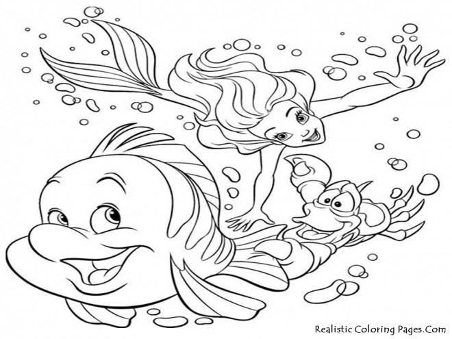 Coloriage et dessins gratuits La sirène de mer et les Poissons Disney à imprimer