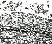 Coloriage Mer et Poissons mandala
