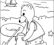 Coloriage et dessins gratuit Ours sur la plage à imprimer