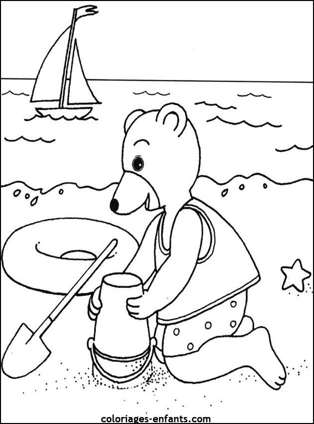 Coloriage et dessins gratuits Ours sur la plage à imprimer
