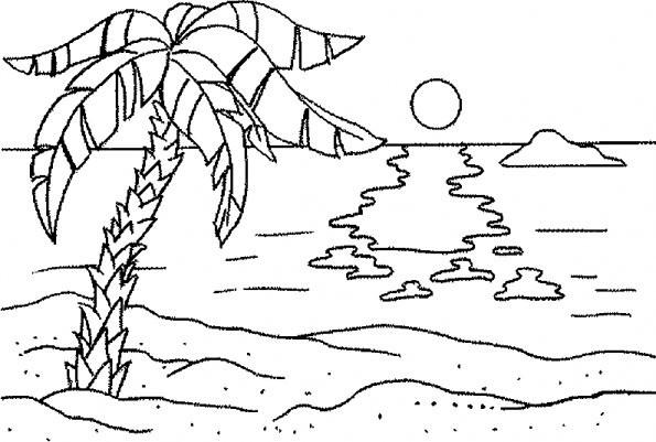 Coloriage et dessins gratuits Palmier sur La plage à imprimer