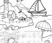 Coloriage Paysage de plage vecteur