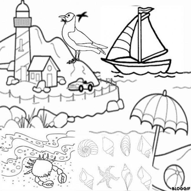 Coloriage et dessins gratuits Paysage de plage vecteur à imprimer