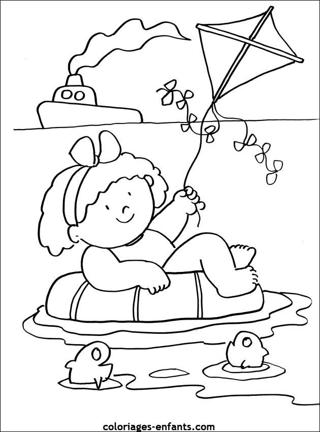 Coloriage et dessins gratuits Petite fille sur la Mer à imprimer