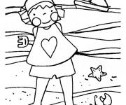 Coloriage Petite fille sur La Plage