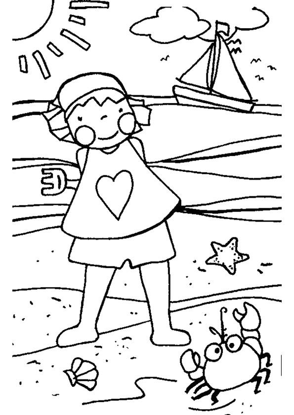Coloriage et dessins gratuits Petite fille sur La Plage à imprimer