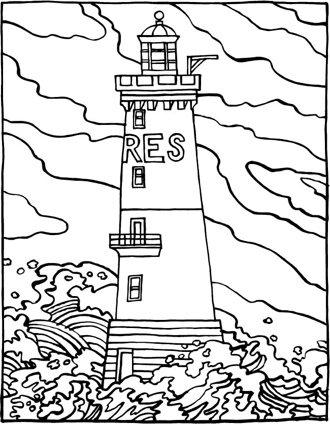 Coloriage et dessins gratuits Phare de Mer à imprimer