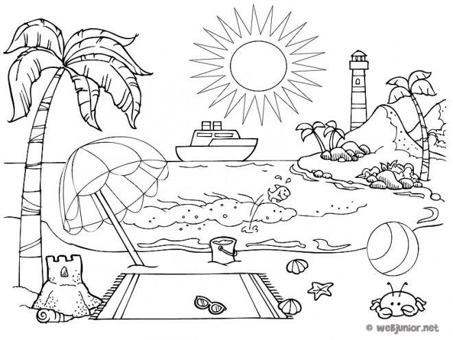 Coloriage plage en t dessin gratuit imprimer - Coloriage plage ...