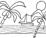 Coloriage Plage et bateau