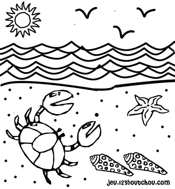 Coloriage plage et jour ensoleill dessin gratuit imprimer - Dessiner un crabe ...