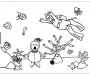 Coloriage et dessins gratuit Plongeurs et Corail à imprimer