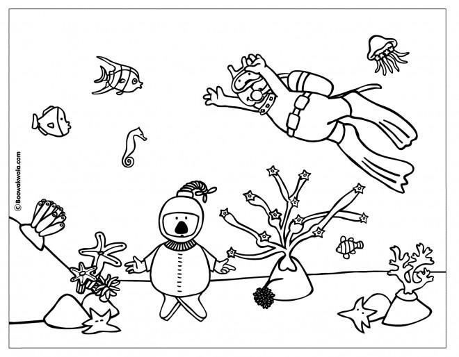 Coloriage et dessins gratuits Plongeurs et Corail à imprimer