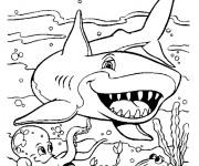Coloriage et dessins gratuit Requin dessin animé à imprimer