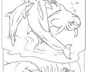 Coloriage et dessins gratuit Trois jolis Dauphins qui sautent à imprimer