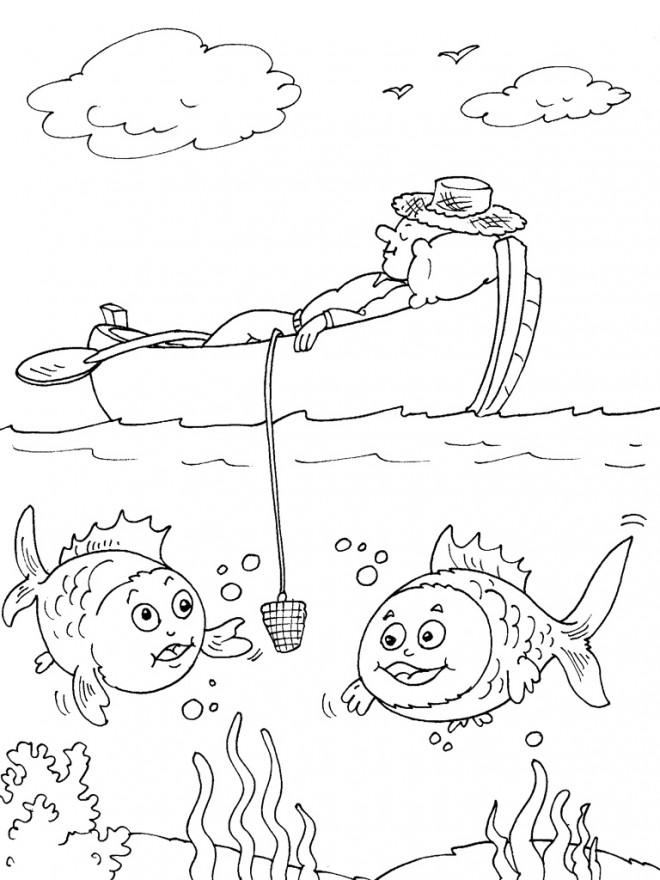 Coloriage Un Pêcheur Qui Dort Dans Son Navire